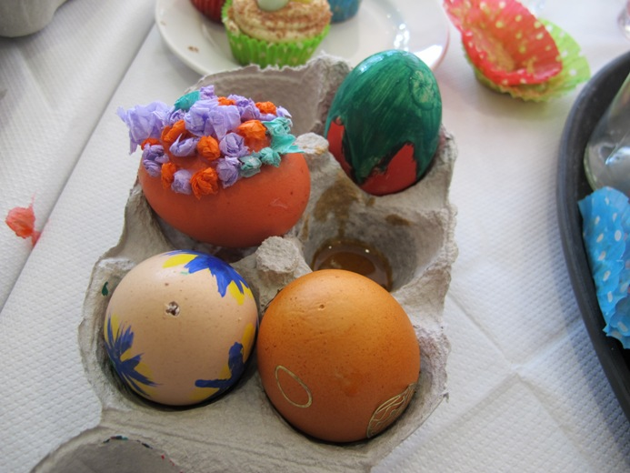 decorated eggs ready for hanging